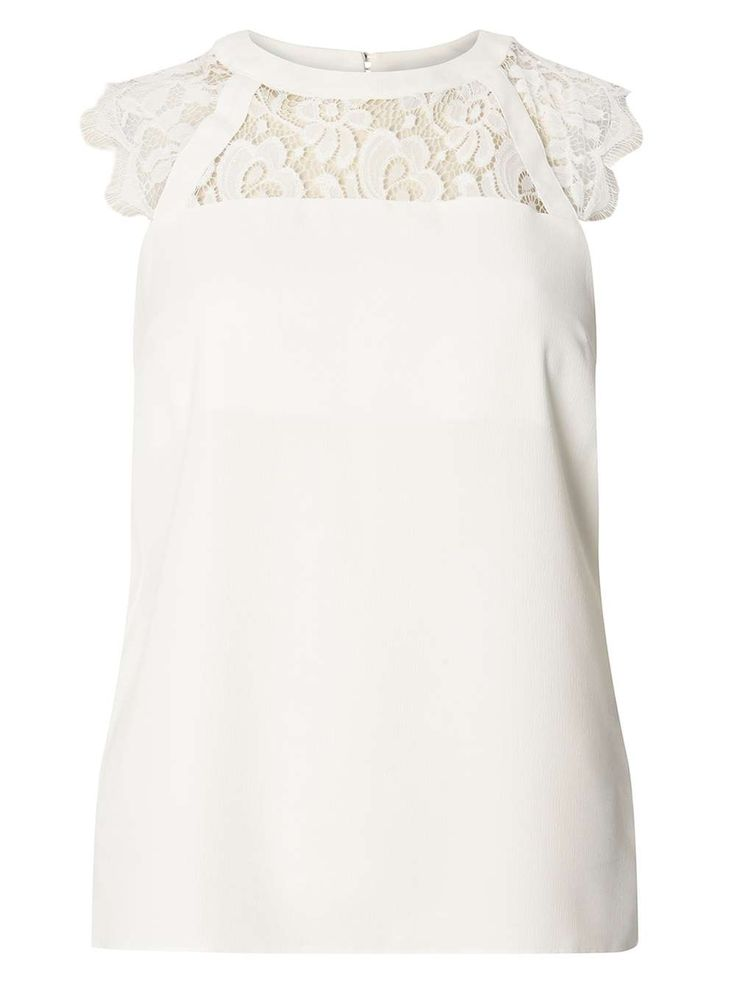 Womens Ivory Lace Detail Top- Ivory