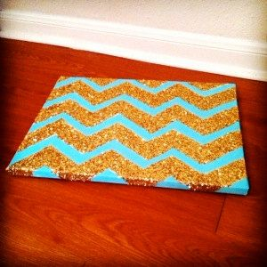 Glitter Chevron Canvas, Chevron Canvas Art, Chevron Painting