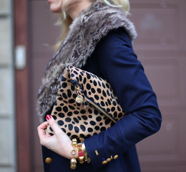 The leopard Clare Vivier foldover clutch