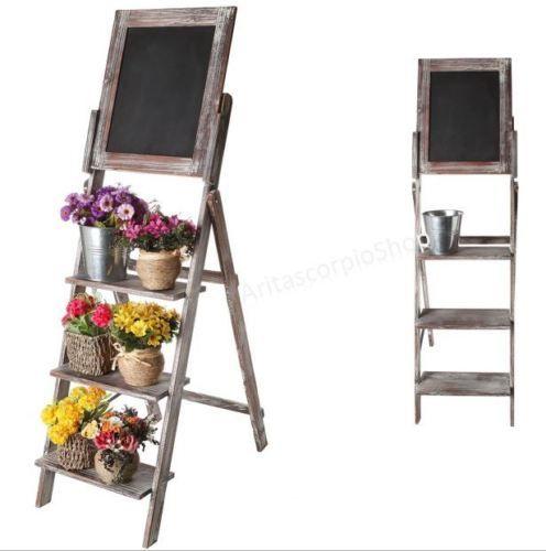 Vintage Wood Chalkboard Easel Menu Display Shelf Plant Pot Flower Stand Decor | eBay