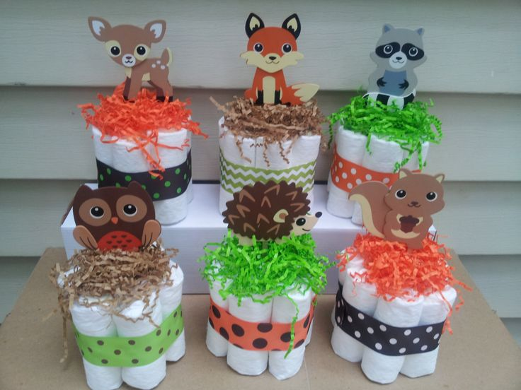 6 Woodland Theme Mini Diaper Cakes Baby Shower