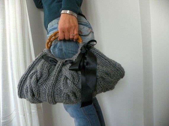 Knit women Handbag, Gray, fall autumn fashion, winter, black ribbon bow, tote, knitted purse, christmas gift idea