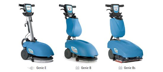 Fimap Genie pedestrian scrubber dryer, there is three in the range, cable-powered electric, battery and battery with cylindrical brushes. The Genie scrubs floors, plastic, concrete, tile, painted floors then vacuums the water and debris into hold tank, ready for emptying.
