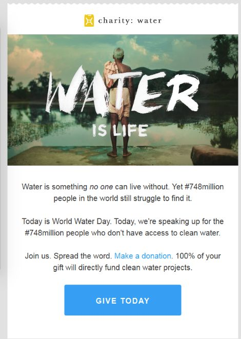 Fundraising email lessons charity:water