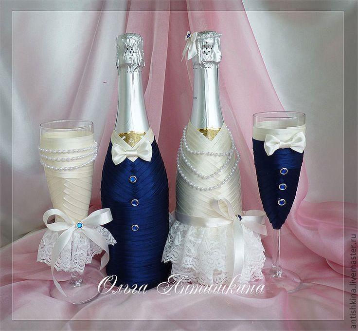 """Купить Оформление шампанского """"Парочка"""" (синий+айвори) - тёмно-синий, молочный, шампанское, свадебное шампанское"""