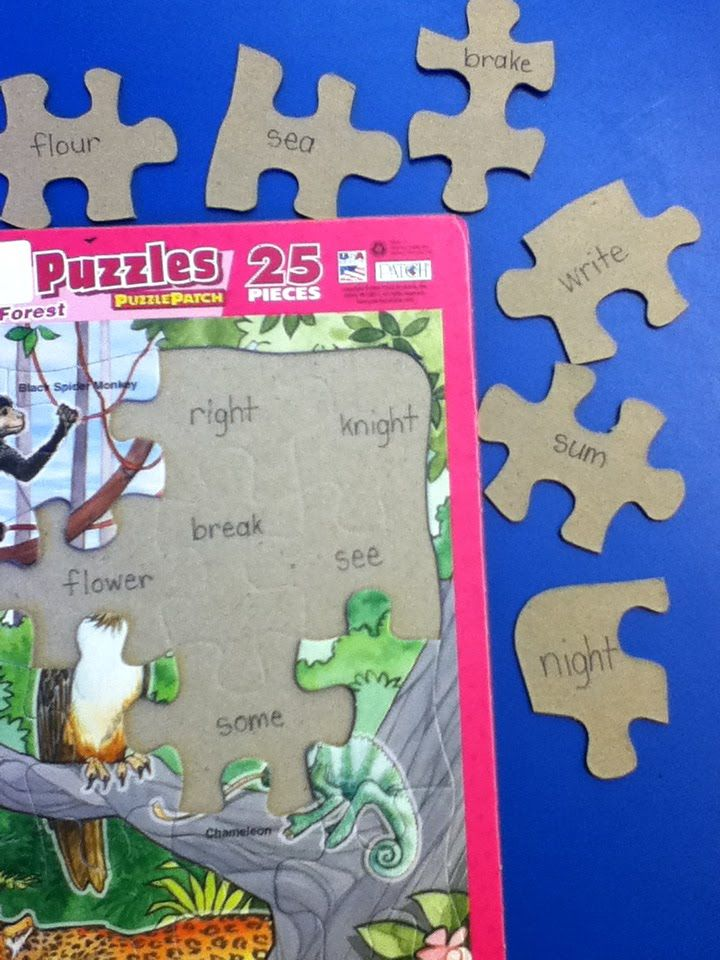 Homophone Relay idea.  Word is written on the puzzle frame, and the homophone is written on the corresponding piece.  This could be done with math facts as well.  Could be done easily with dollar store puzzles! From Mrs. Bushong's Second Grade: