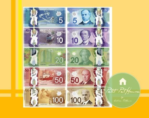 Printable 1 6 Miniature Scale Canadian Dollar Banknote Bills Double Sided For Yosd Blythe Barbie Toy Money Play Scale Diy Dollar Banknote Printing Double Sided American Dollar