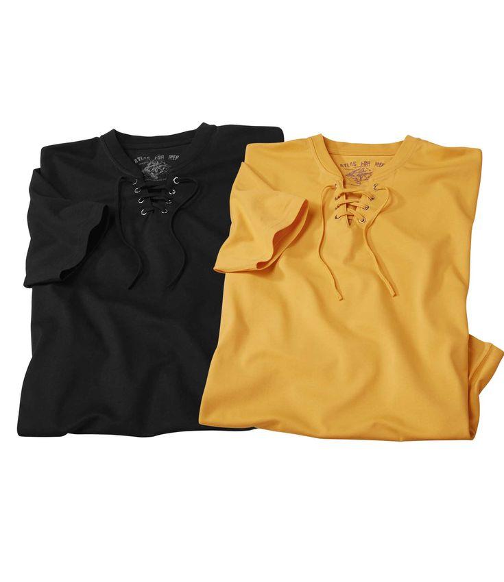 Комплект Футболок — 2шт.(Atlas For Men)Эти футболки в однотонной цветовой гамме с круглым вырезом на резинке застегиваются на планку со шнурком. Они изготовлены из мягкого трикотажа джерси, поэтому Вам будет очень приятно их носить. Изделия имеют свободный крой и аккуратную отделку, элементами которой являются планка с восемью шлевками, короткие рукава и двойная строчка в тон. Состав: 100% хлопок, плотность около 180г/м?. Длина по спинке: около74см для размера L. Машинная стирка при 30°…