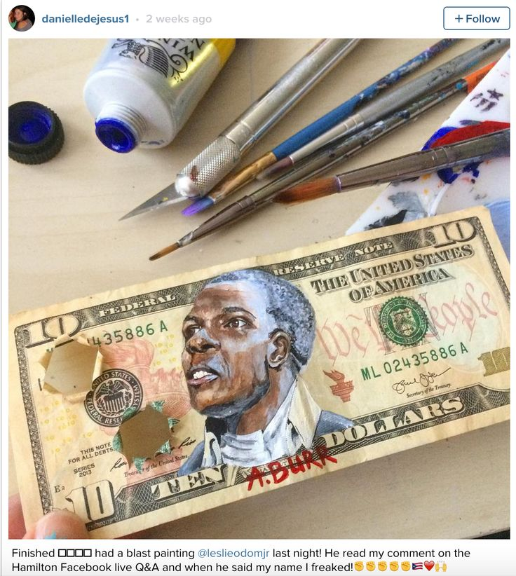 Hamilton fan art: Outstanding mini-portrait of Hamilton's biggest rival, Aaron Burr, by @Danielledejesus1. Loving the creative use of Hammy's ten dollar bill as the medium.