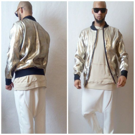 Hey guy, this is a light weight bomber style jacket perfect for events. This is not an outerwear piece for warmth. Its a stylish inner wear piece. Design to be worn in club events side. Made for metallic gold lame fabric  Small Chest 40-42 Medium Chest 42 -44 Large Chest 46 -48 Extra Large Chest 48 - 50