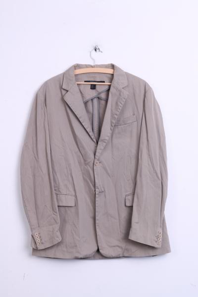 DKNY Mens L Blazer Top Suit Striped Beige Cotton Single Breasted - RetrospectClothes