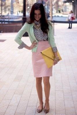 light grey top * mint cardigan * light pink bottoms * pop of yellow