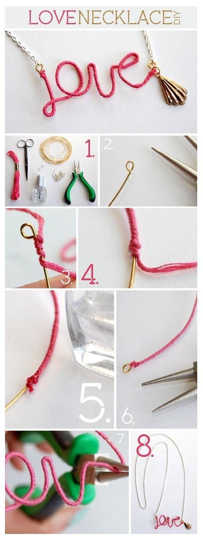Para fazer este lindo colar vai precisar :   Corrente   Linha de bordar ou cordão encerado   Arame   alicate de bijuteria   Elos que podem ...