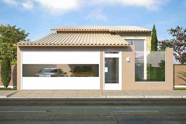 Planta de casa térrea com 3 quartos - Projetos de Casas - Modelos de Casas