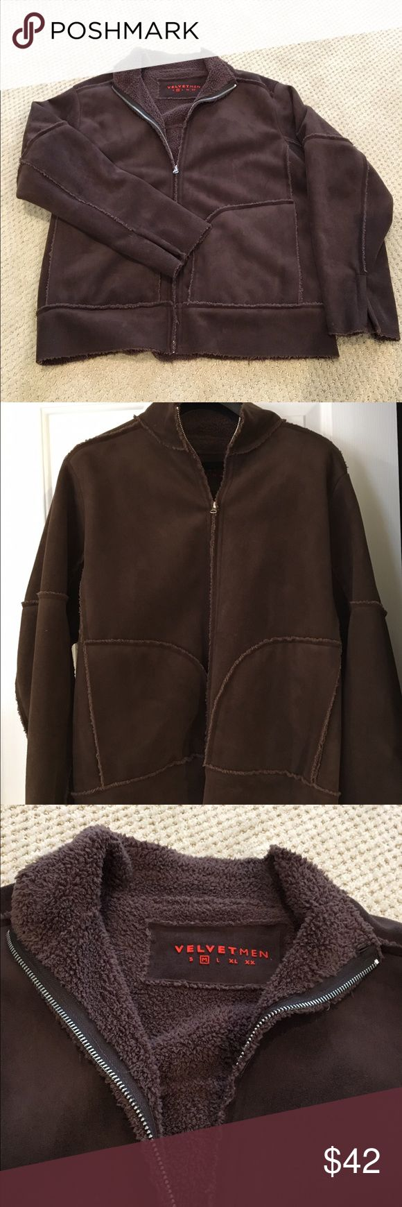 Men's Velvet Faux Shearling Jacket SO soft! Excellent condition - worn 3x. Smoke free home. No flaws! Velvet Jackets & Coats