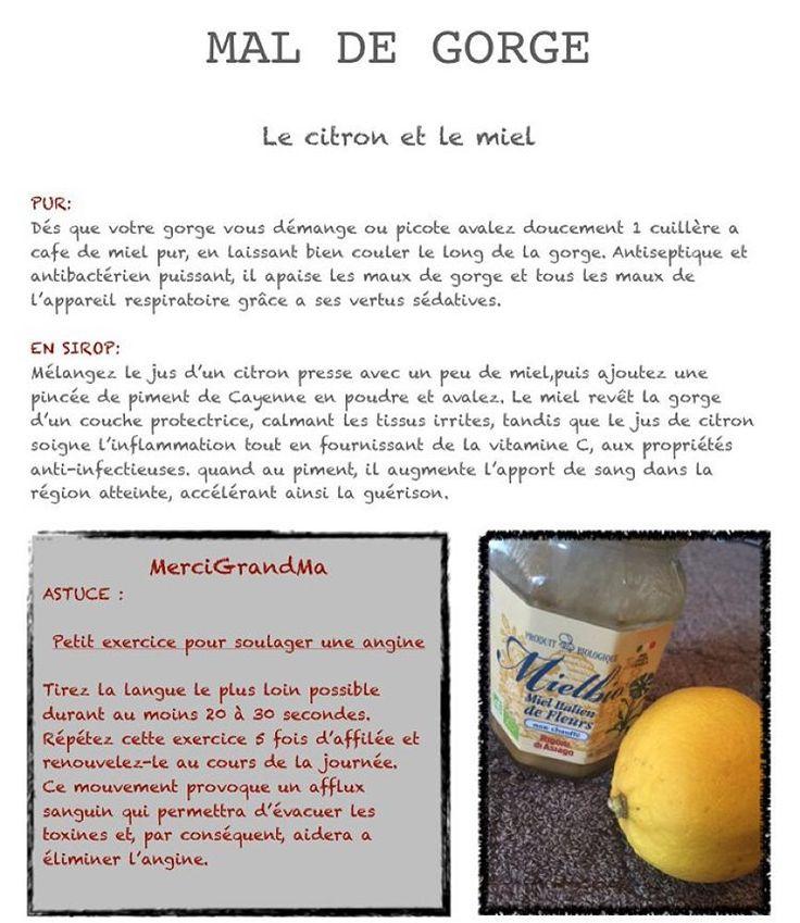 «Mal de gorge #citron #miel #honney #lemon #homemade #bio #astuce #trucs #mal #de #gorge #angine #picotement #grandma #sante»