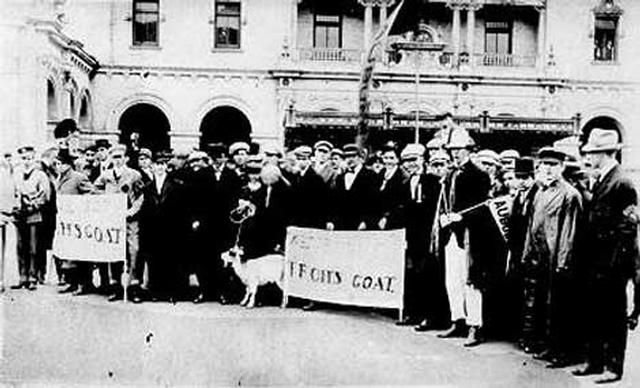 "Auburn students promised to get ""Tech's goat"" at a rally in Atlanta before the 1911 football game.  Mike Donahue's lads didn't let them down, defeating John Heisman's team 11-6.  Kirk Newell returned a punt 80 yards, and end Ted Arnold intercepted a pass and ran 105 yards for Auburn's two five-point touchdowns.  The field was 110 yards long in those days.    John Heisman was Auburn's football coach from 1895-1899, but left to later become Georgia Tech's football coach in 1904."