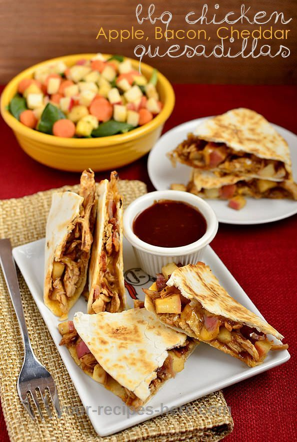 BBQ Chicken, Apple, Bacon, Cheddar Quesadillas are full of sweet and savory goodness, and are so easy to make!