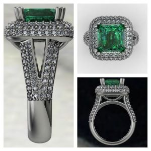 Emerald Halo Pave Ring www.samuelkleinberg.com