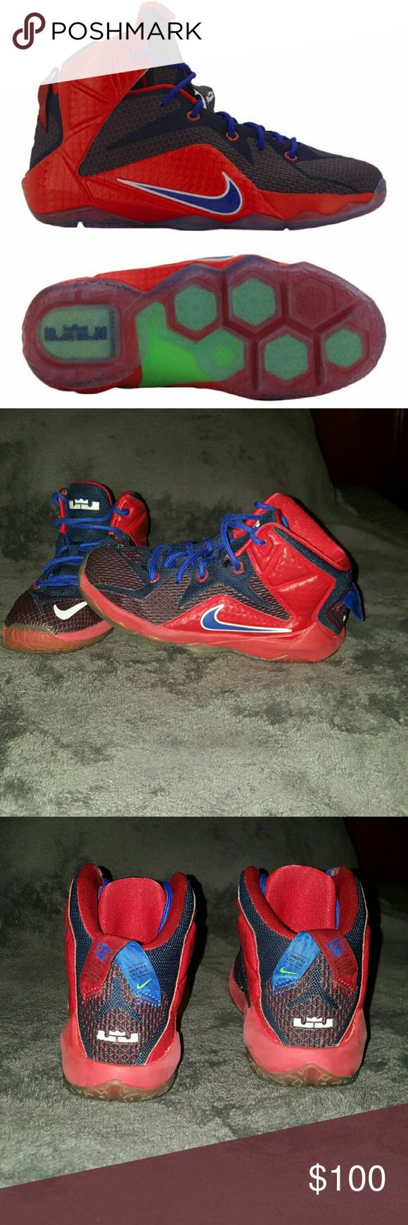 Kids Nike Lebrons XIII Red blue and white kids Nike Lebrons in great condition. Needs new laces. Nike Shoes Sneakers