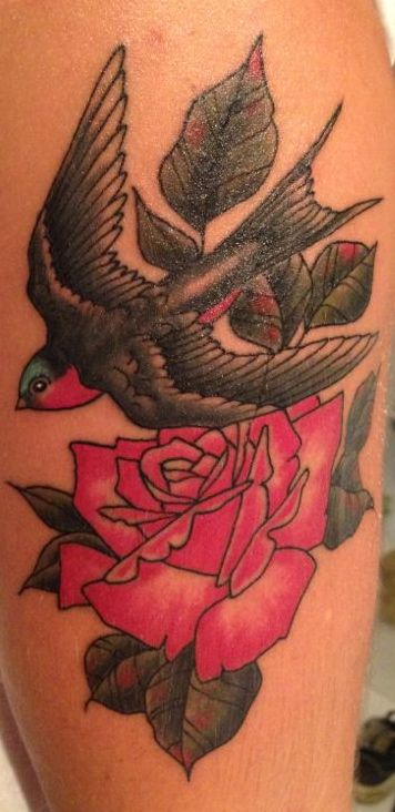 My tattoo, swallow and rose, Traditional, Tatuaggio, rondine e rosa.