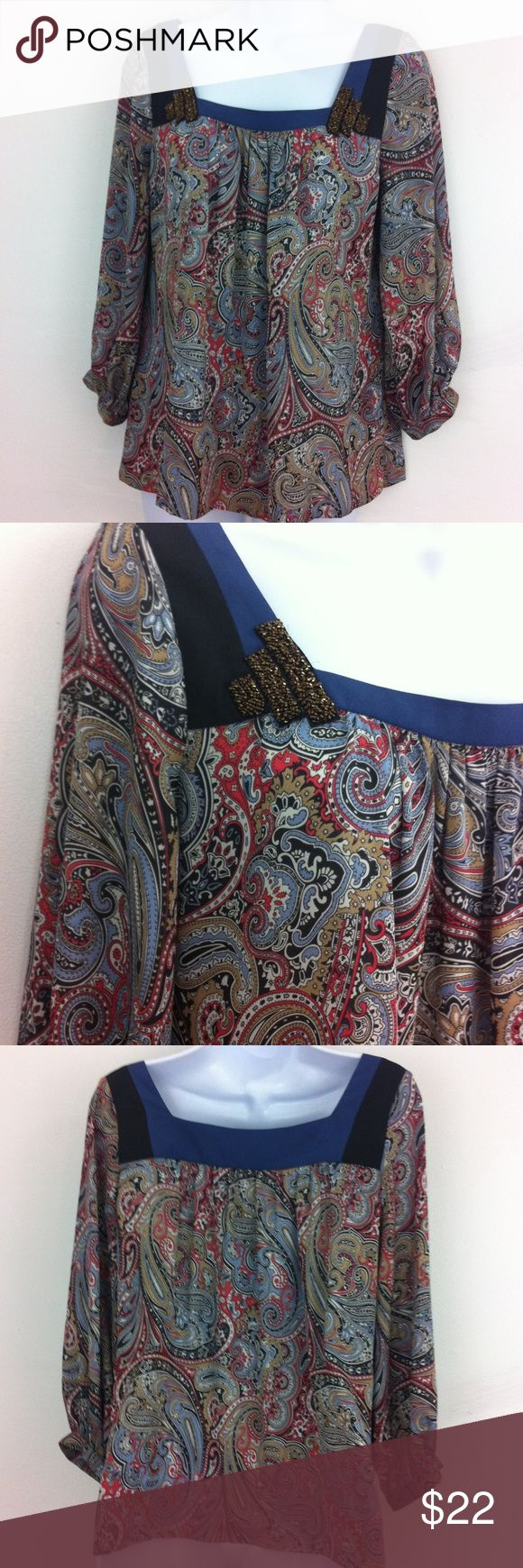 BCBG Generation paisley top Silky paisley top with blue & black trim and adorned in corners by a brass colored beaded  detail. Gently worn and no flaws. Tag size XS BCBGeneration Tops