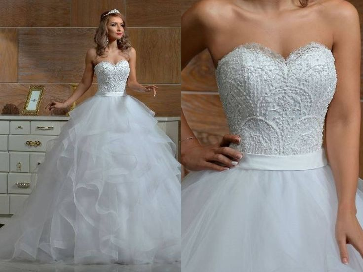 Strapless Lace Princess Wedding Dress Light Multi-layer Skirt Train by Poshfair on Etsy