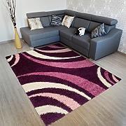 Tappeto Salotto ART Moderno Capelli Lunghi – Colore Viola Scuro Motivo Ondulato – Morbido - Facile Da Pulire – Migliore Qualità – Diverse Misure S-XXXL 240 x 330 cm