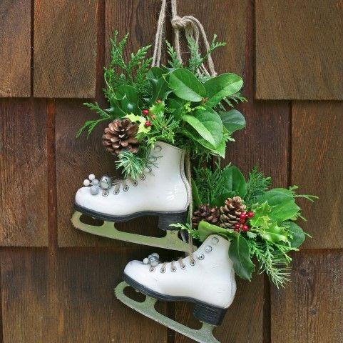 Vintage Skates as Festive Holiday Decor