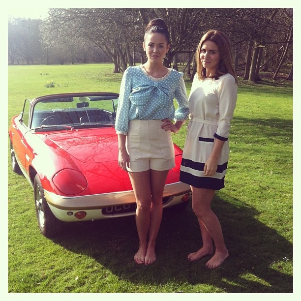 Our gorgeous models on location- check out those wheels!