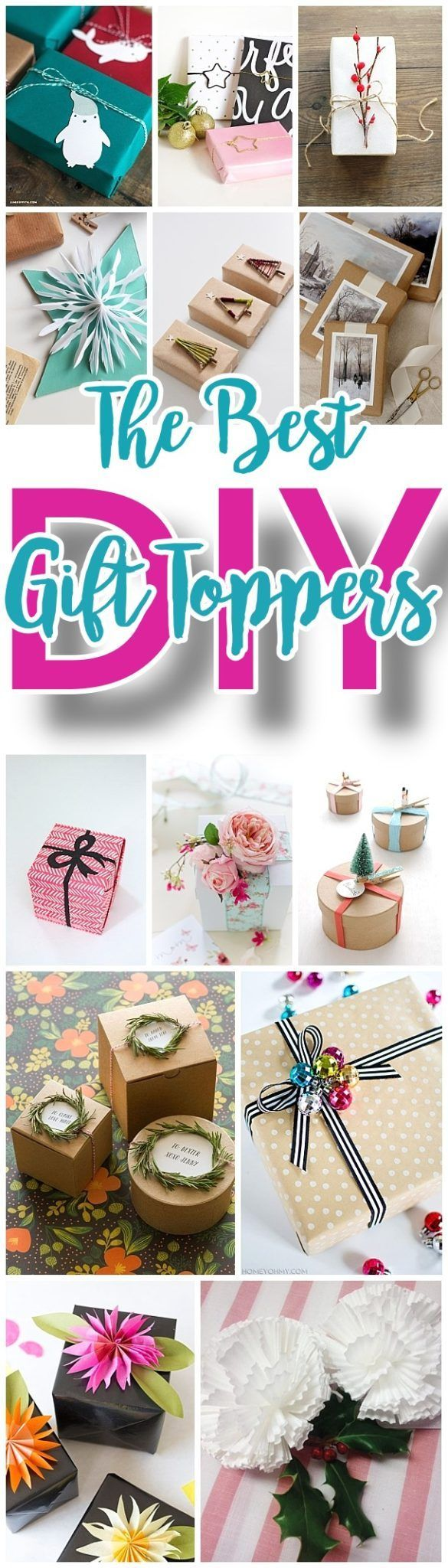 The BEST DIY Gift Toppers - pretty handmade EASY, CHEAP and fun gift wrapping ideas for Christmas Birthdays Holidays and any time you want someone to feel extra special! #giftwrapping #gifttoppers #christmasgiftwrapping