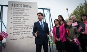 Ed Miliband unveils Labour's pledges carved into a stone plinth in Hastings, on May 2.