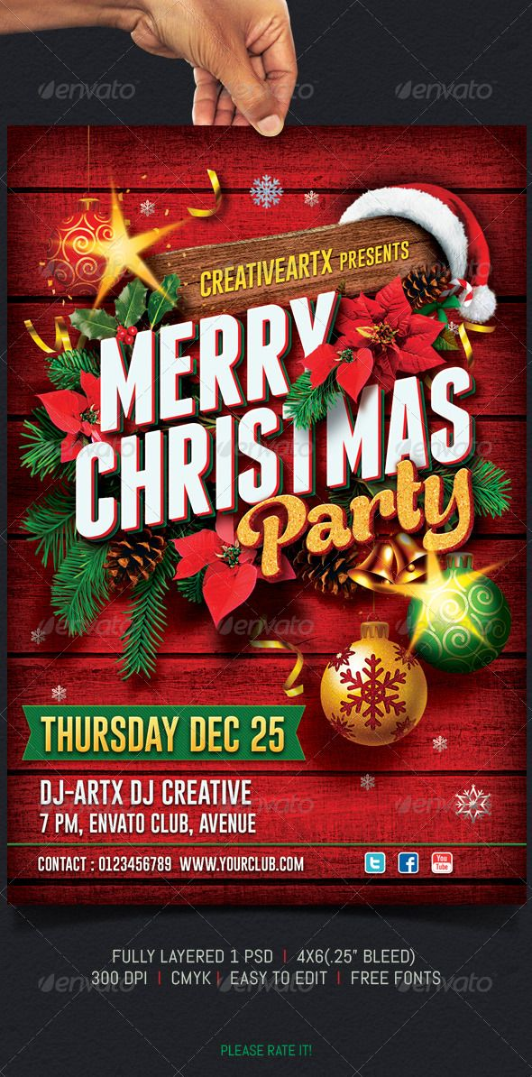 Christmas Party Flyer — Photoshop PSD #chrstmas bash #christmas event • Available here → https://graphicriver.net/item/christmas-party-flyer/6053479?ref=pxcr