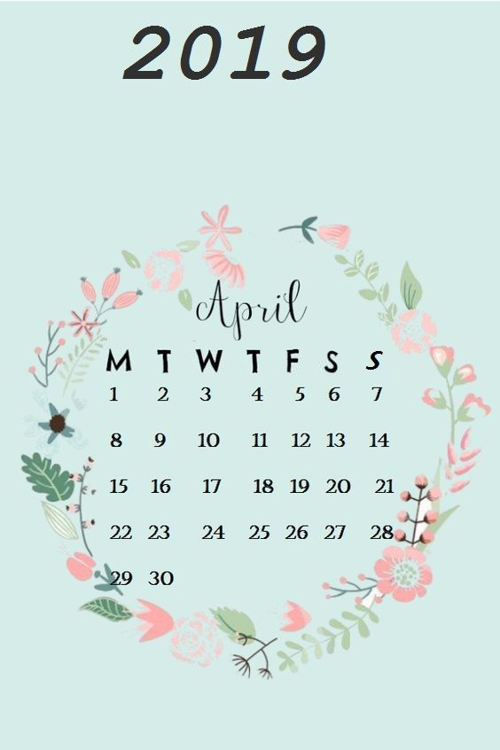 Cute April 2019 calendar wallpaper Calendar wallpaper