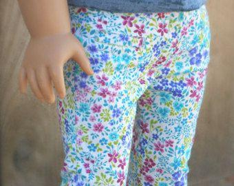Flores Capris con bolsillos de ojal para muñecas de niñas americanas