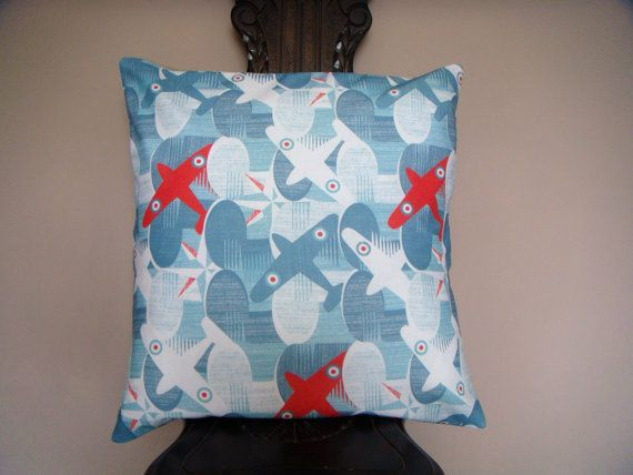 Airplane design in blue red and white 18x18 by ItsSewInspirational, £15.30