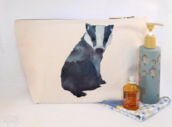 Badger Canvas Wash Bag Large Zipper Pouch Makeup Bag Toiletry Bag Accessory Bag by ceridwenDESIGN http://ift.tt/1SJTGF8