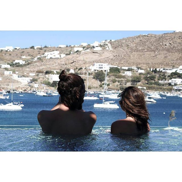 Checked into #kivotosmykonos and got the best surprise - hello private infinity pool :heart_eyes::ocean: Thank you for sharing @globetrotwithus! #ornos #seaview #intotheblue #preciousmoments
