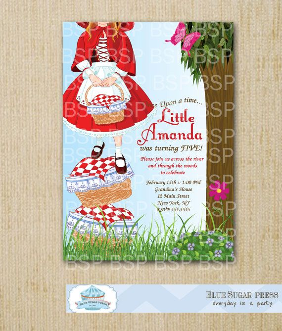 Little Red Riding Hood Invitations / Personalized Birthday Party Little Red Riding Hood Invitations, Little Red Riding Hood Birthday Party,