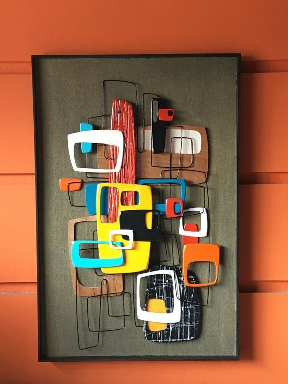 2017 New Release – Mid Century Modern Art Abstract Wall Sculpture Painting Retro …