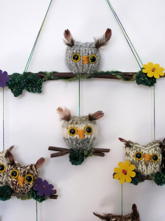baby knit owl mobile etsy