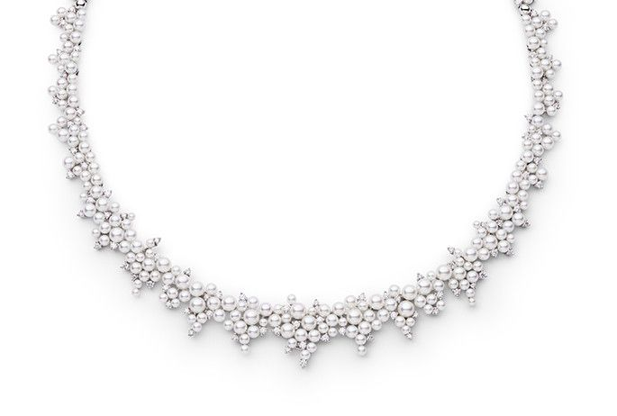 Modern Diamond and Pearl Necklace - Inspired by Joseph-Louis Lagrange, an Italian Enlightenment Era mathematician and astronomer, who developed the mathematical equations used in pave diamond settings as well as the asymmetrical stone settings in this necklace