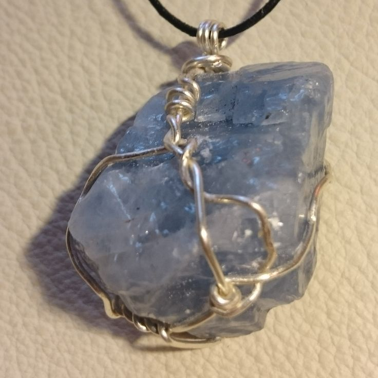 Blue Calcite Capture Pendant (1/2) #calm #crystal #innerpeace #wirewrap #necklace #ascensionenchanted #handmade #jewellery