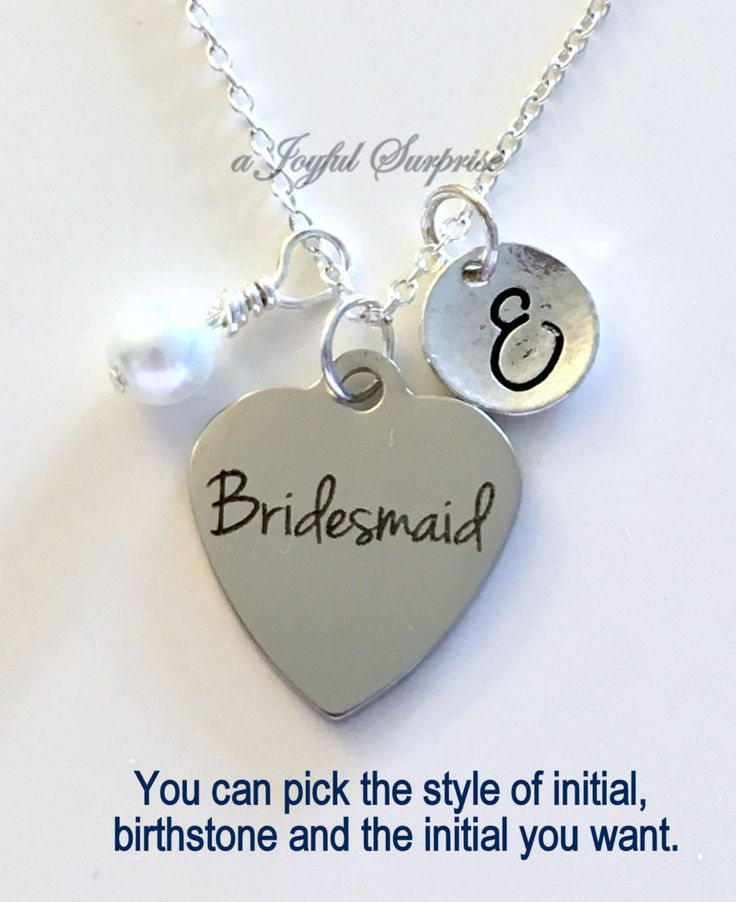 Bridesmaid Necklace Personalized, Silver Bridal Party Jewelry, Gift for Wedding Party Gifts, with Initial Wedding Color Pearl Dangle Charm by aJoyfulSurprise on Etsy