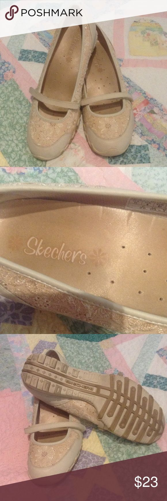 Skechers, Mary Janes, Size 11 Leather/Embroidered textile.  Shoes are a rePosh that did not fit.  They show very little wear. Skechers Shoes Flats & Loafers