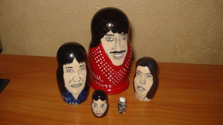"""THIN LIZZY rock band"" 5pc wooden hand painted russian matreshka nesting dolls #Unbranded"
