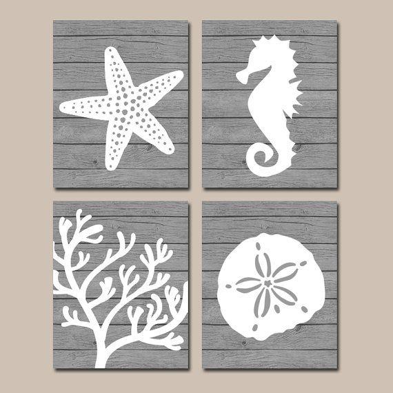 Beach BATHROOM Wall Art CANVAS or Prints Nautical by TRMdesign