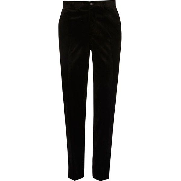 River Island Black smart velvet skinny fit trousers ($17) ❤ liked on Polyvore featuring men's fashion, men's clothing, men's pants, men's dress pants, pants, bottoms, men, trousers, mens skinny dress pants and men's 5 pocket pants