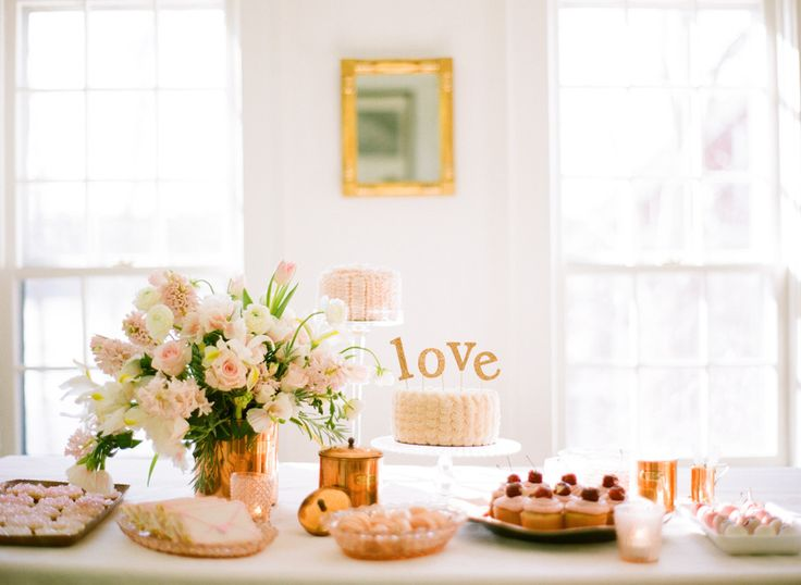 Baby girl shower. Pink & copper dessert table  / Photography by: White Loft Studio / Design & Styling by: Style Me Pretty at Home