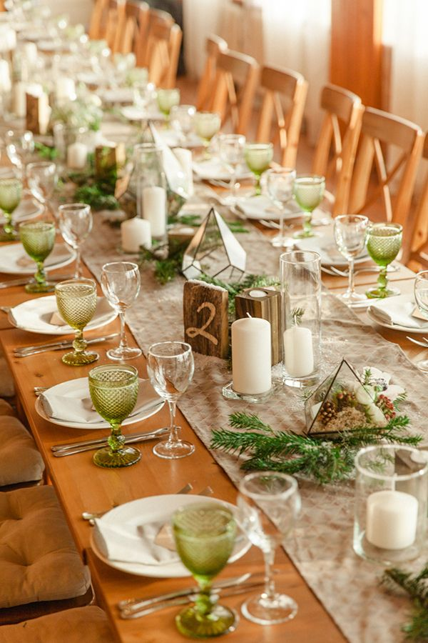long table wedding receptions - photo by WarmPhoto http://ruffledblog.com/warm-russian-winter-wedding/